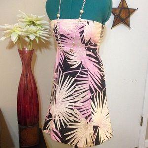 GAP stretch palm print strapless dress